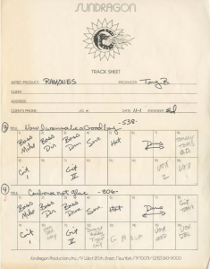 "A tracking sheet from the ""Leave Home"" sessions (courtesy of Ed Stadium)"